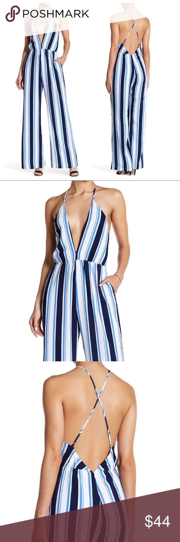 b2db7c0ca17 Lucca Couture Strappy Low Back Jumpsuit Striped Jumpsuit with plunging  v-neck