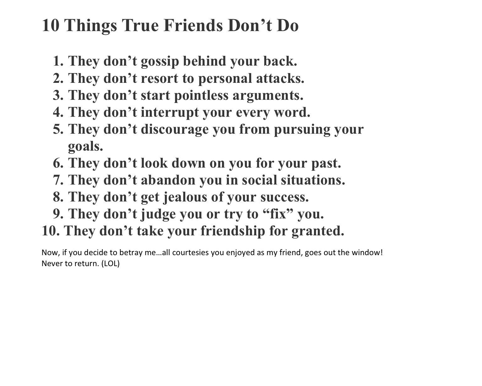 10 Things (True) Friends Don't Do