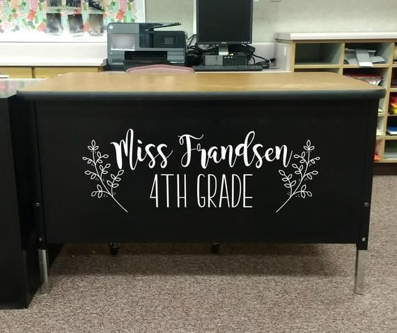 Photo of Teacher Name, teacher desk decal, classroom decor, vinyl wall decal, classroom wall decal, growth mi