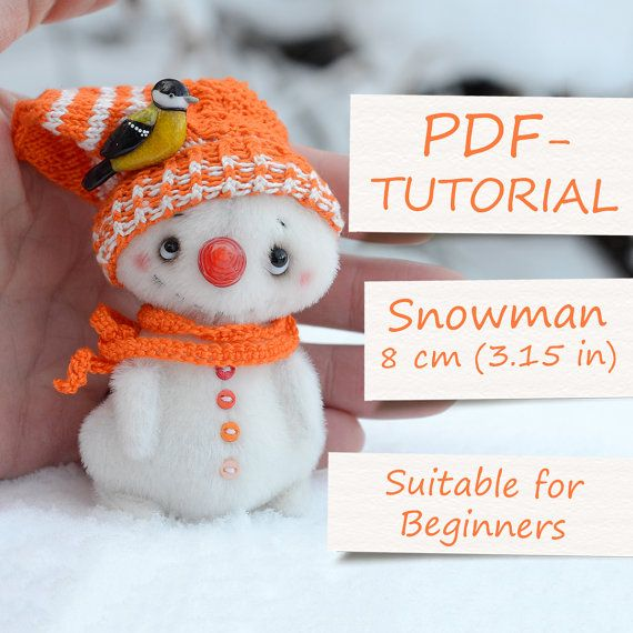 Miniature Snowman Creation - Teddy Toy PDF-Pattern by ABCbears (8 cm / 3.15 in)