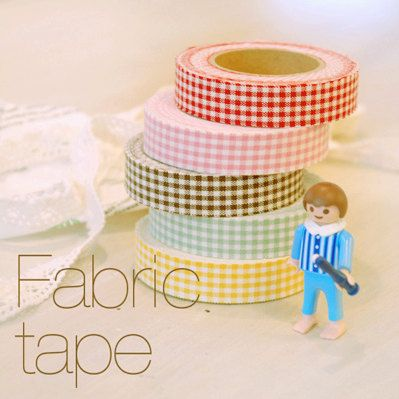 Gingham Check Adhesive Fabric Tape 0.6 inch #fabrictape