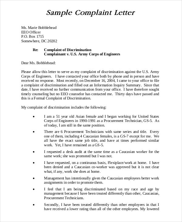 Complaint Letter Sample Letter Writing Complaint How To Write A - Proper Complaint Letter Format