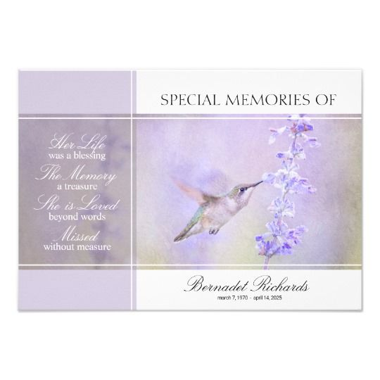 pastel hummingbird share a memory card template memorial
