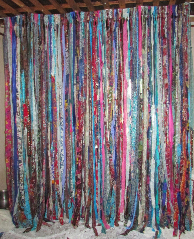 Curtain rod room divider - Boho Gypsy Hippie Garland Curtain Room Divider Dorm Shower Backdrop Door Teen Rag Up Cycled