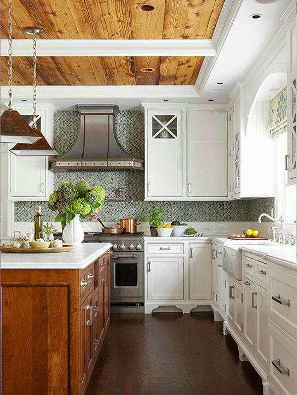 Les plus belles cuisines rustiques en images! Plafond en bois