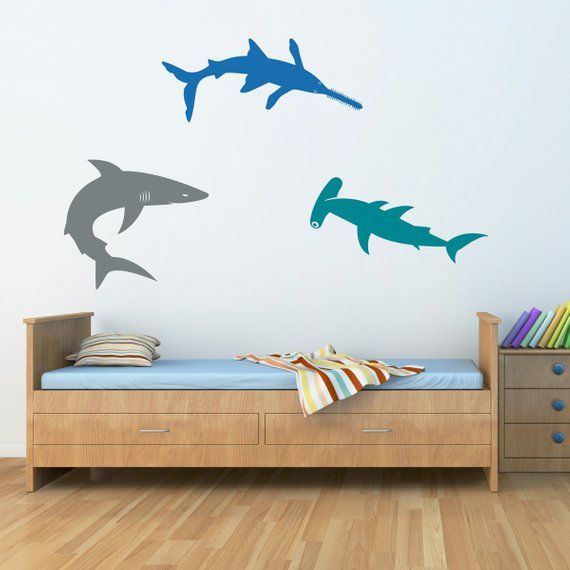 Sharks Wall Decal Set - Bull Shark - Hammerhead - SawShark ...
