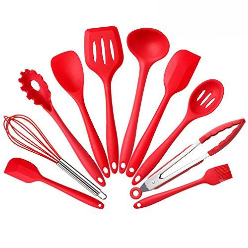 YOHOKO Silicone Kitchen Utensils 10 Premium Cooking Tools Set  Tongs Whisk Brush Spatula Slotted Spoon Noodle Spoon Rice Paddle Slotted Spatulla Soup Spoon  Heat Resistant Cooking Utensil -- Find out more about the great product at the image link.Note:It is affiliate link to Amazon.