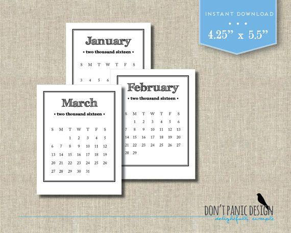 2016 Printable Calendar Rustic Monthly Desk by dontpanicOrganize - printable calendars