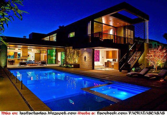 Casa moderna de dos niveles con piscina en los angeles con - Casas modernas con piscina ...