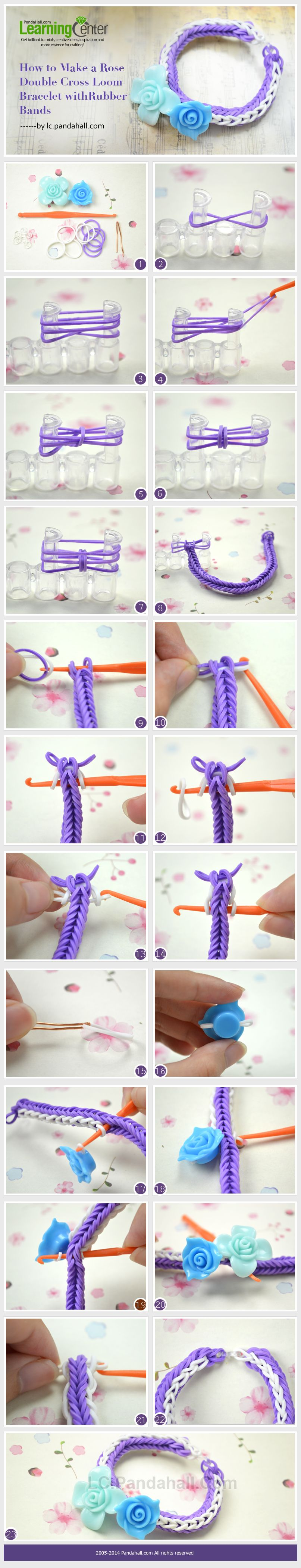 How To Make A Rose Double Cross Loom Bracelet With Rubber Bands