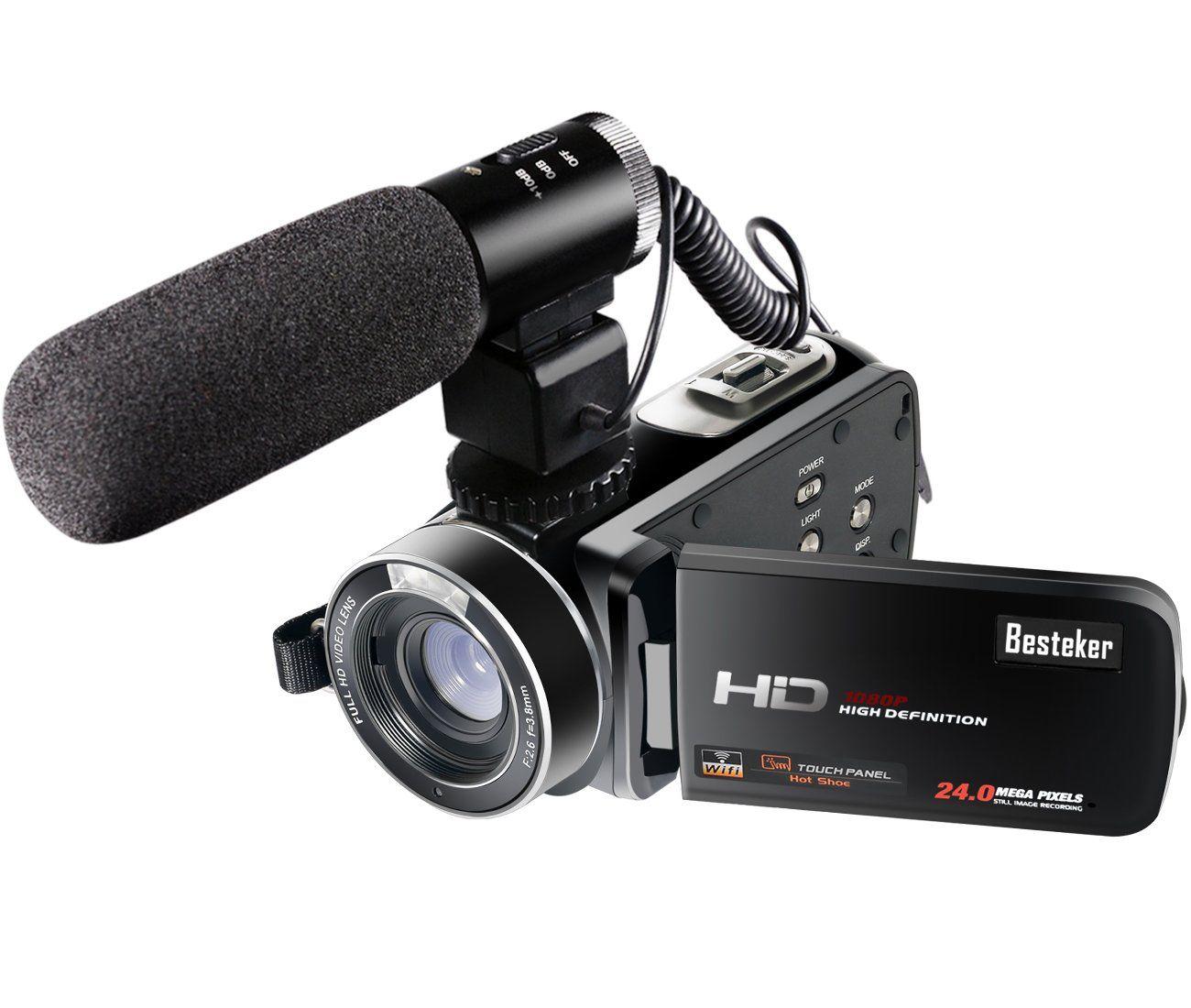 Besteker Wifi Camcorder Full Hd 1080p 30fps Portable Digital Video Camera With External Microphone Hdv Z20 Digital Video Camera Video Camera Camcorder