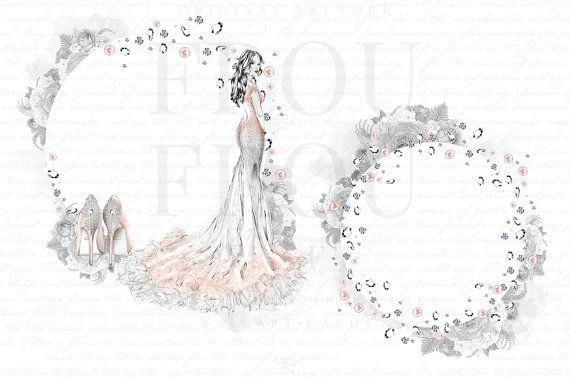 wedding clip art bridal clipart bachelorette party invitation