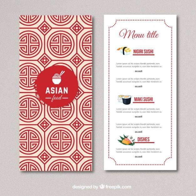 Asian Food Menu Free Vector Menu Restaurant Restaurant Menu Template Chinese Menu