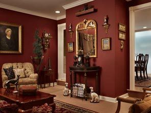 burgundy painted living room | the original garage, formerly a
