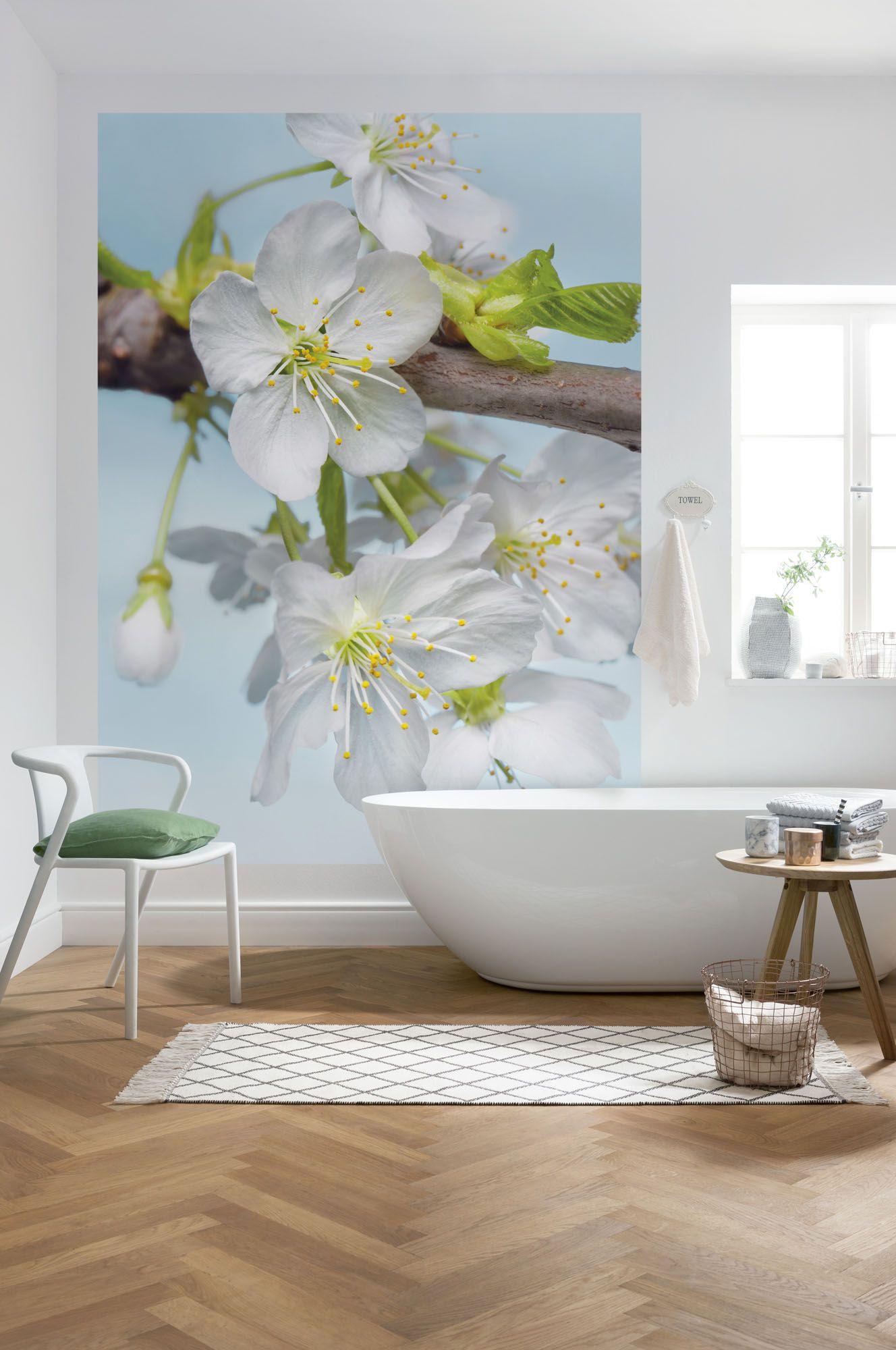 Fototapete Von Komar Blossom Feinen Blatter Der Apfelblute Fototapete Wandbild Wand Und Schoner Wohnen Tapeten
