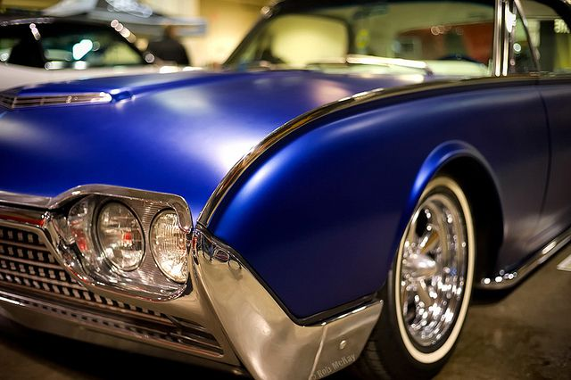 T Bird With A Satin Matte Blue Paint Job Impressive Look All Of The Shaved Chrome Air Suspension Ride On What Looks Like Set 19 Or 20 Rims