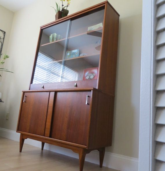 Mid Century Modern Walnut China Cabinet Hutch   Sliding Glass Doors    Bookshelf   Bookcase