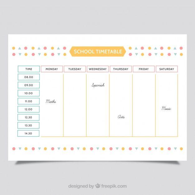 School schedule template Download thousands of free vectors on