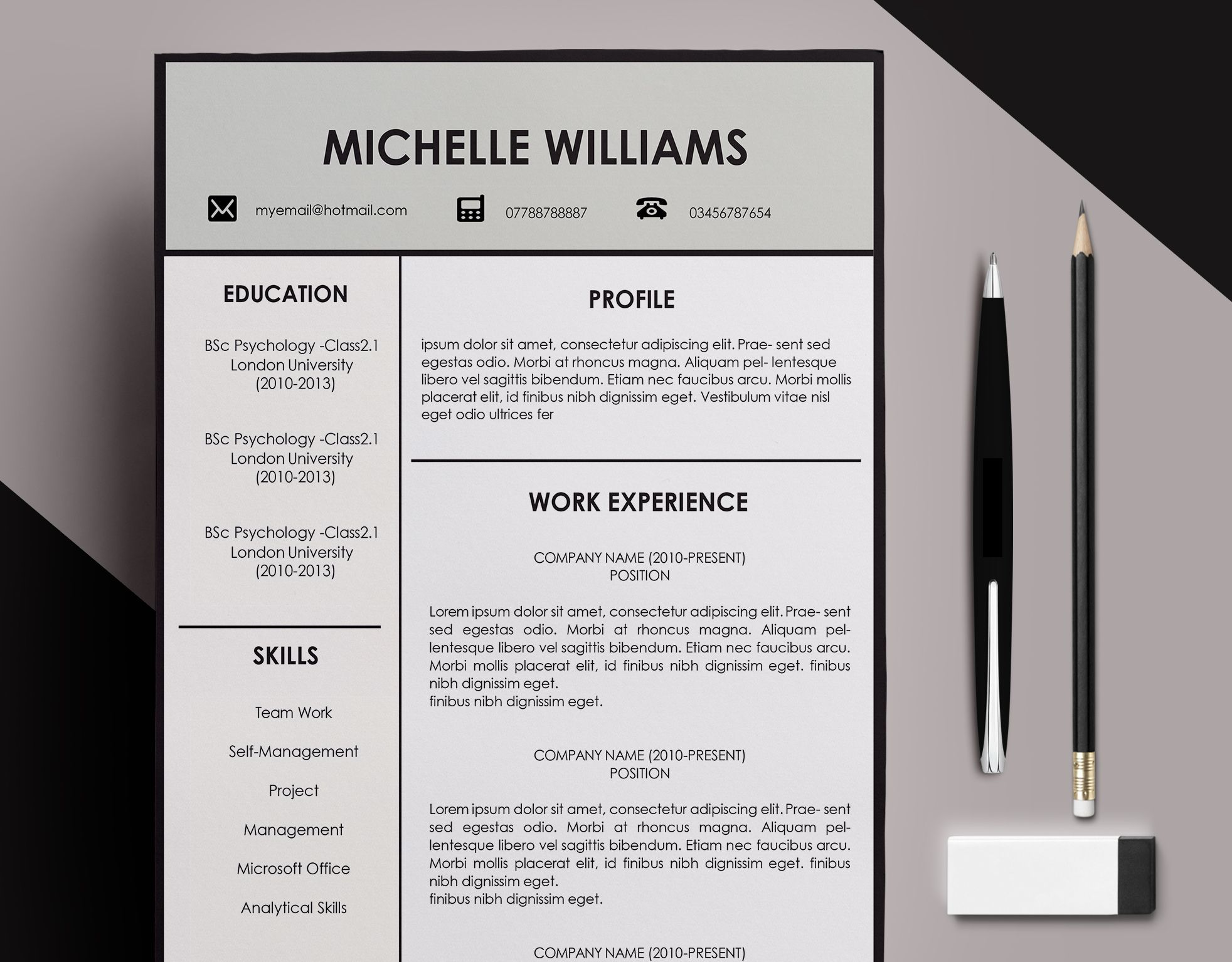 CV Resume Template Design // Letter Head // Curriculum Vitae Template // CV