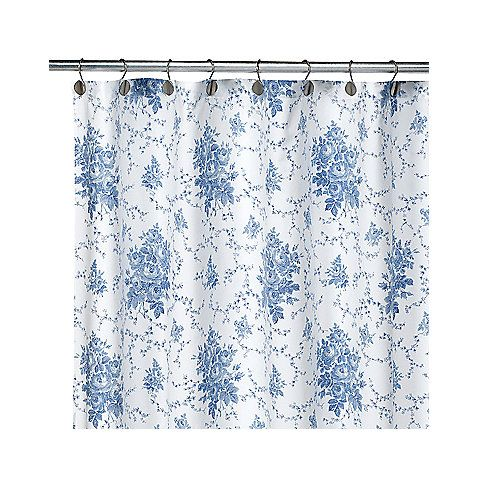 Laura Ashley Sophia Blue 72 Inch X Fabric Shower Curtain Bed Bath Beyond For The Second Upstairs