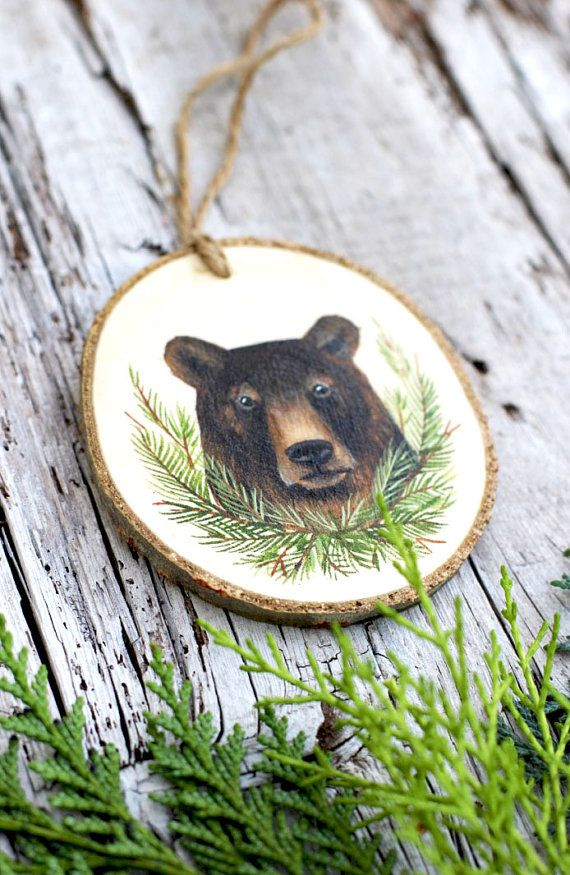 Forest Bear : Rustic Tree Slice Ornament by AliceCEades on ...