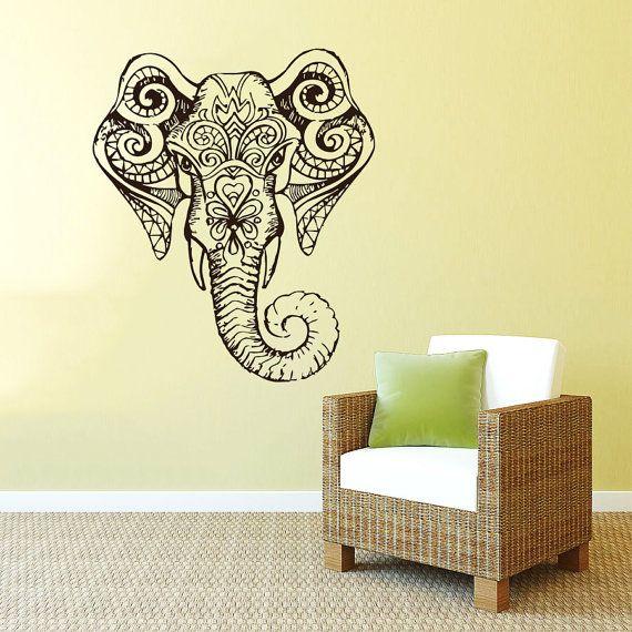 Wall Decal Vinyl Sticker Decals Art Home Decor Mural Indian Elephant ...