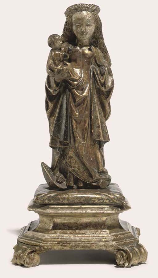 A PARCEL-GILT POLYCHROME CARVED WOOD GROUP OF THE VIRGIN AND CHILD -  MALINES, FIRST QUARTER 16TH CENTURY.
