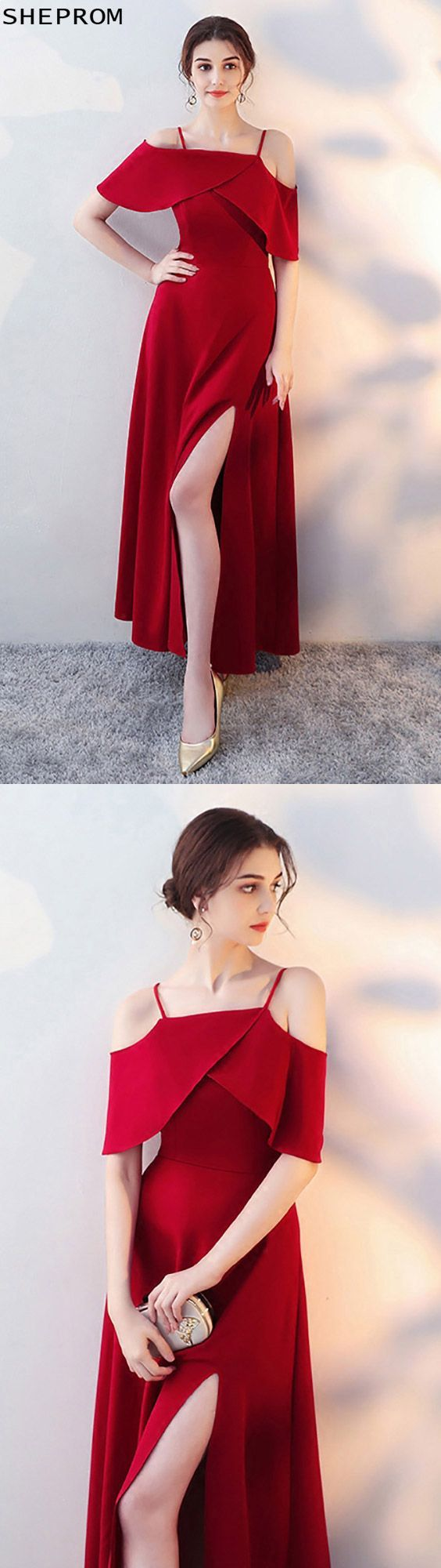 Burgundy long red formal dress side slit with flounce