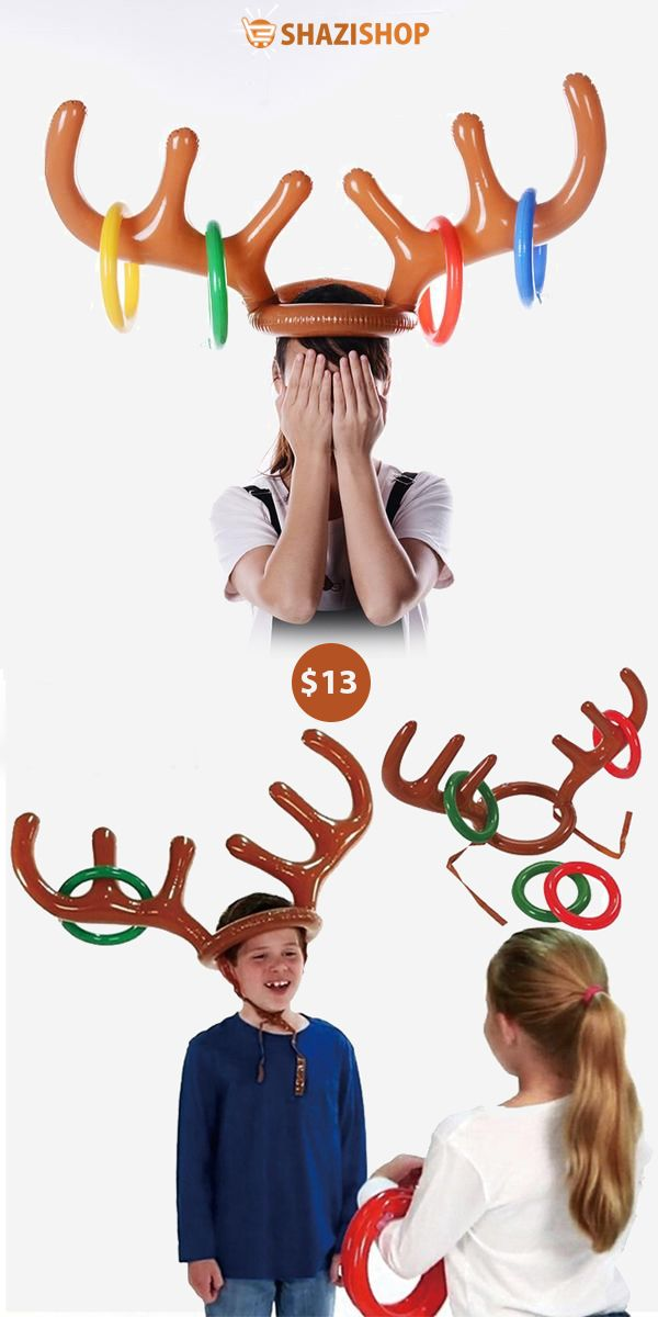949b3ff195cc0 5pcs lot Santa Funny Reindeer Antler Christmas Toy Children Kids Headgear  Inflatable Hat Ring Toss Christmas Supplies Toy