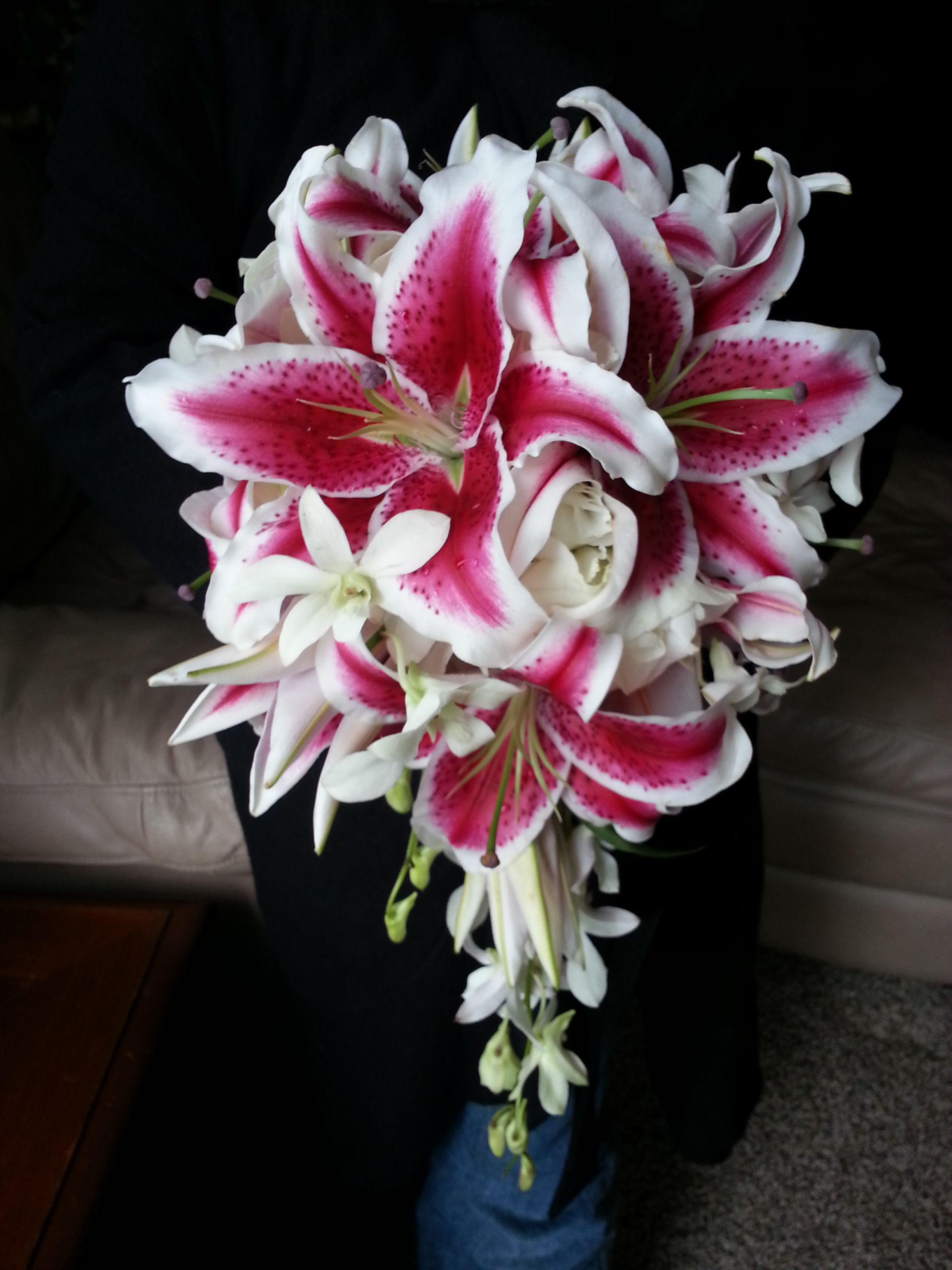 Cascade Wedding Bouquet Lily Bouquet Wedding Stargazer Lily