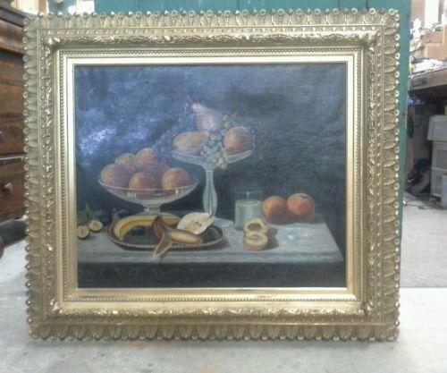 55121 ANTIQUE 1880s OIL STILL LIFE PAINTING TABLE & FRUIT W GILT AESTHETIC FRAME