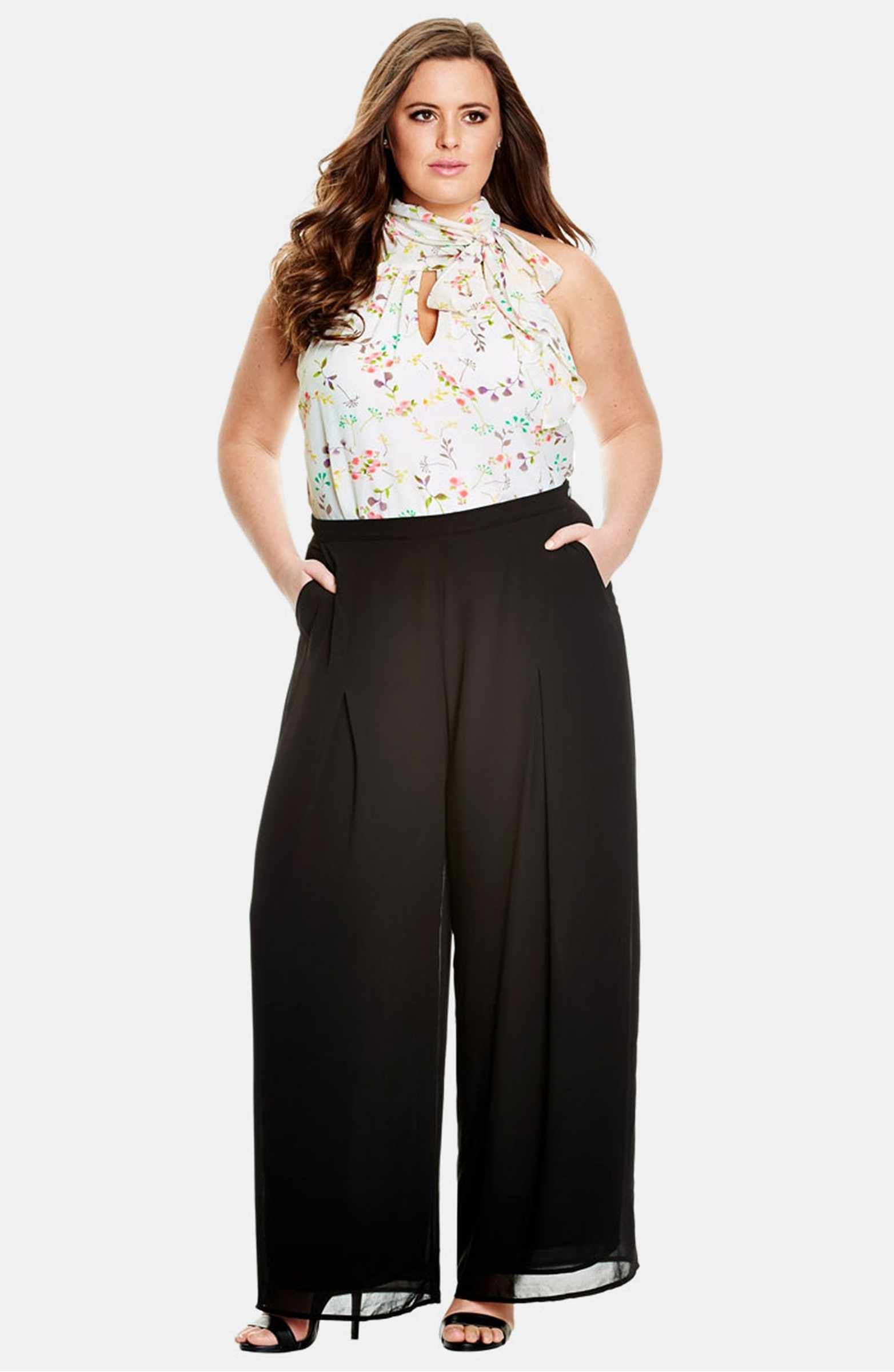 c7428fab00cf0 Main Image - City Chic Sheer Georgette Palazzo Pants (Plus Size ...