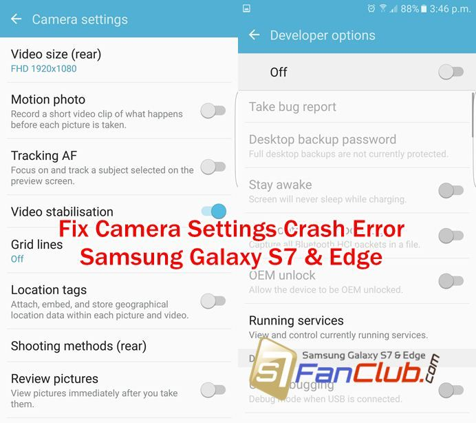 How to Fix Galaxy S7 Camera Settings Crash Error? Camera