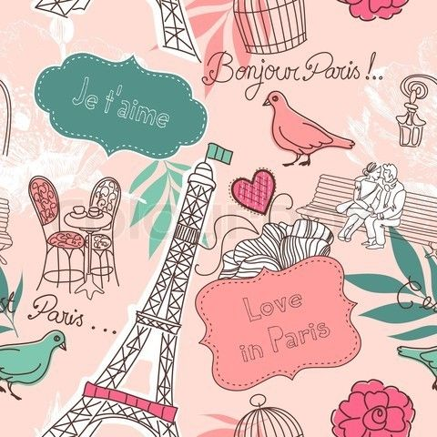 Vector Of Paris Wallpaper Cartoon In 2019 Paris