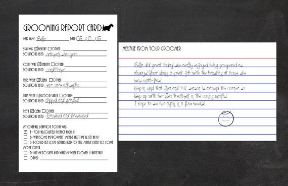 Grooming Report Card Template For Index Cards By Groomerscloset Report Card Template Recipe Cards Template Card Template