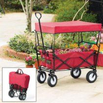 Folding wagon eliminates the constant back-and-forthing to retrieve tools and supplies because there s plenty of room to bring it along. Features generous cargo space, rear saddle bag, mesh pockets inside and out, and a removable canopy top with telescoping poles.