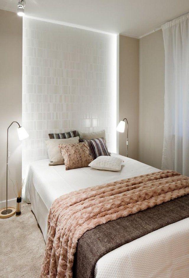 Schlafzimmer Gestaltung Ideen Apricot Beige Braun Indirekte Beleuchtung Wand