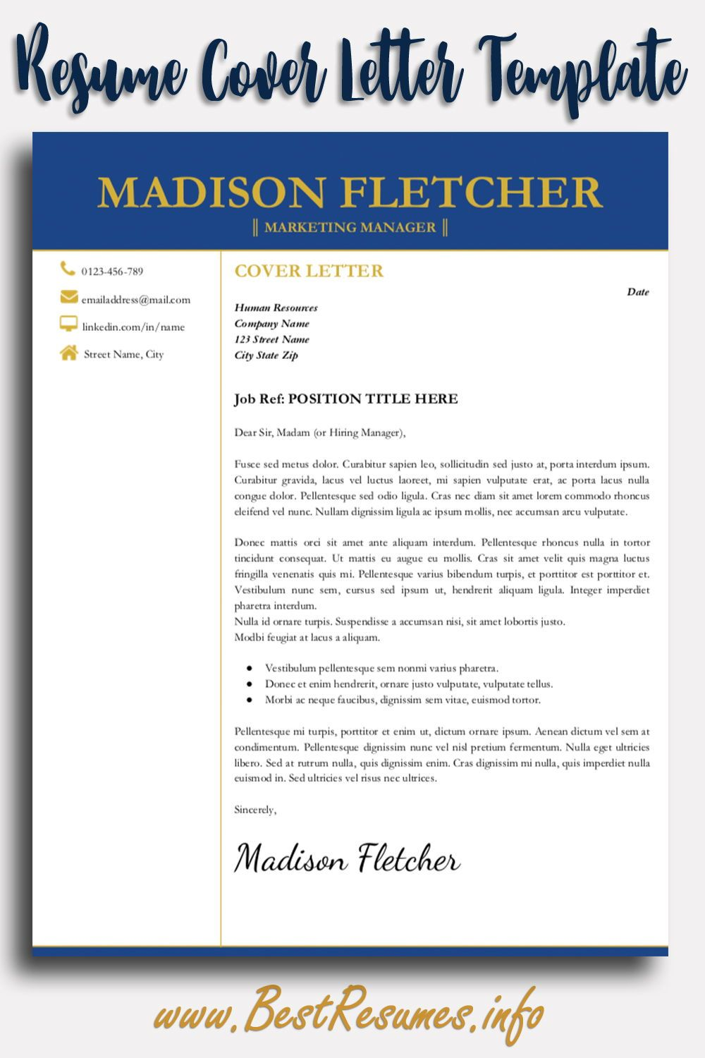 Elegant Resume Template Madison Fletcher - Resume cover letter template, Resume template, Resume template professional, Resume, Resume templates, Cover letter for resume - Elegant Resume Template Madison Fletcher  Get this resume killer modern resume template for Google Docs and land the job! Check more here
