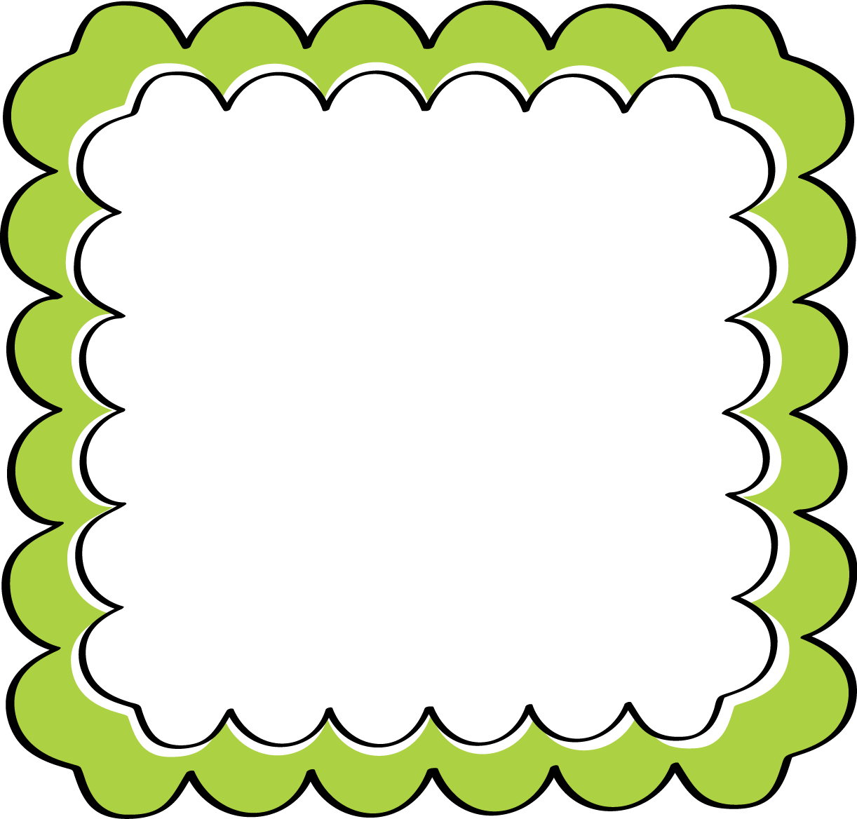 school theme border clipart | Green Scalloped Frame - Free Clip ...