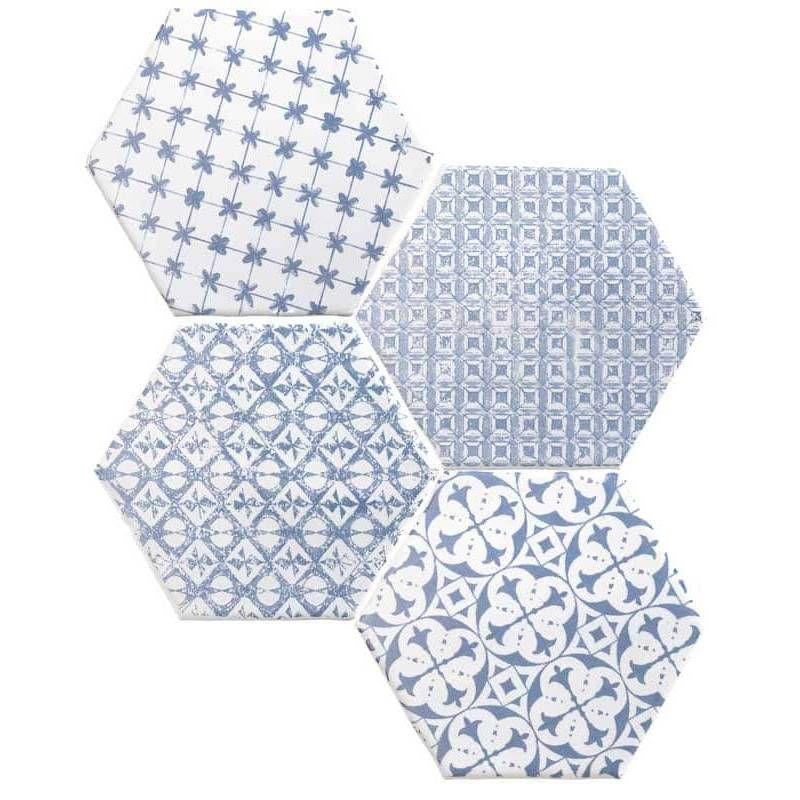 Carrelage Tomette Hexagone A Decor Bleu Delave Et Fond Blanc