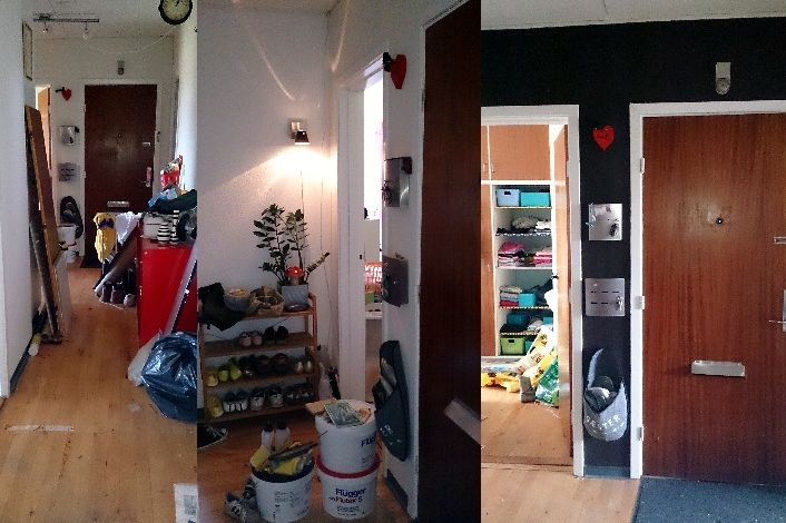 Black wall before and after cleaning and painting.