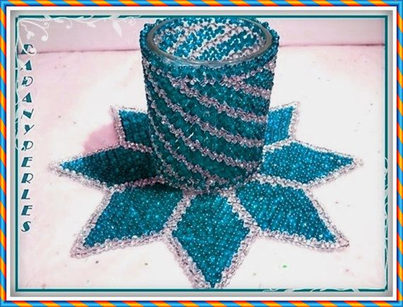 pattern bead weaving doily and candle holder star by dadanyperles