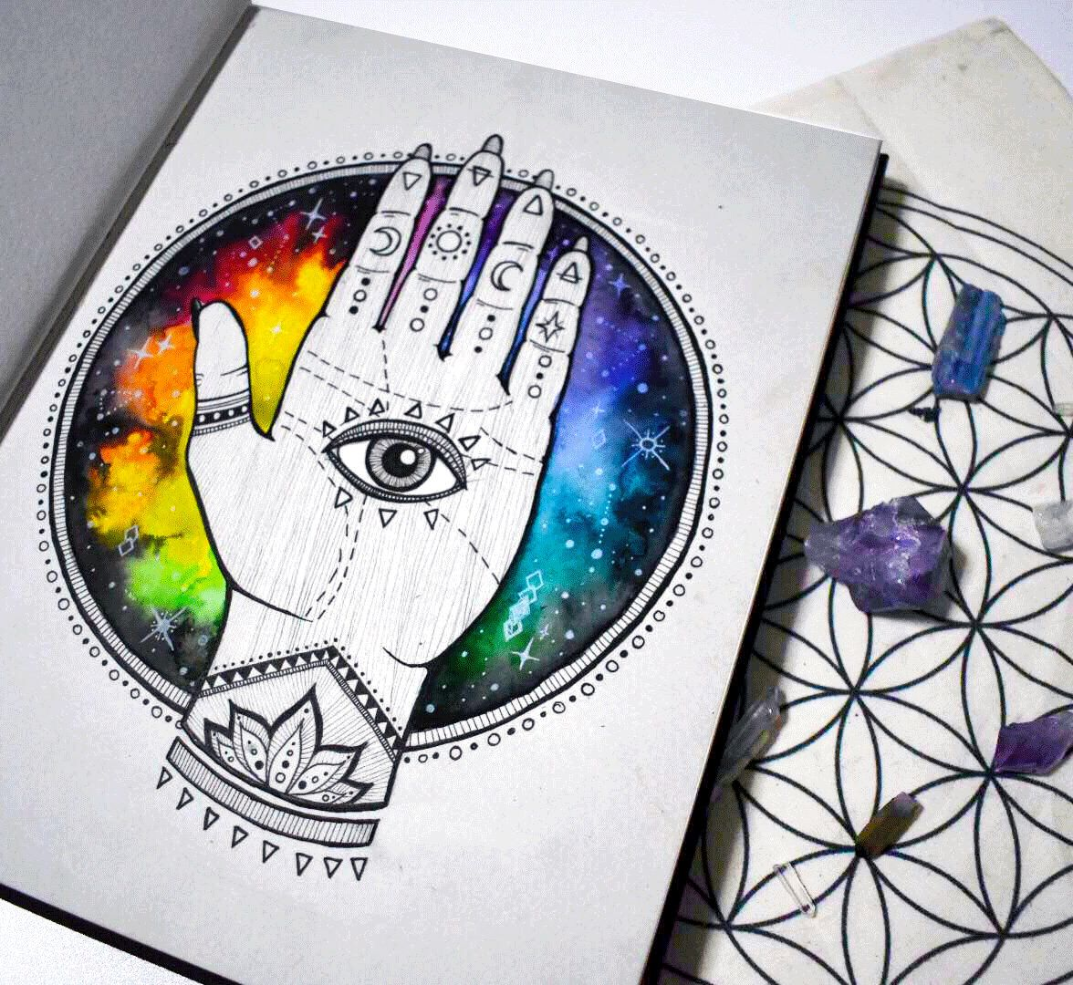 Excited to share this item from my #etsy shop: All Seeing Eye Hand Third Eye Rainbow Galaxy Trippy Hippie Original Wall Art Print Poster