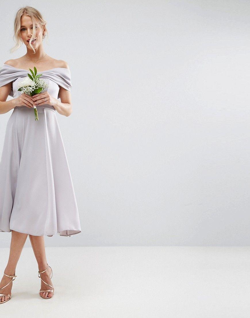 Asos wedding bow front soft midi prom dress multi wedding dress