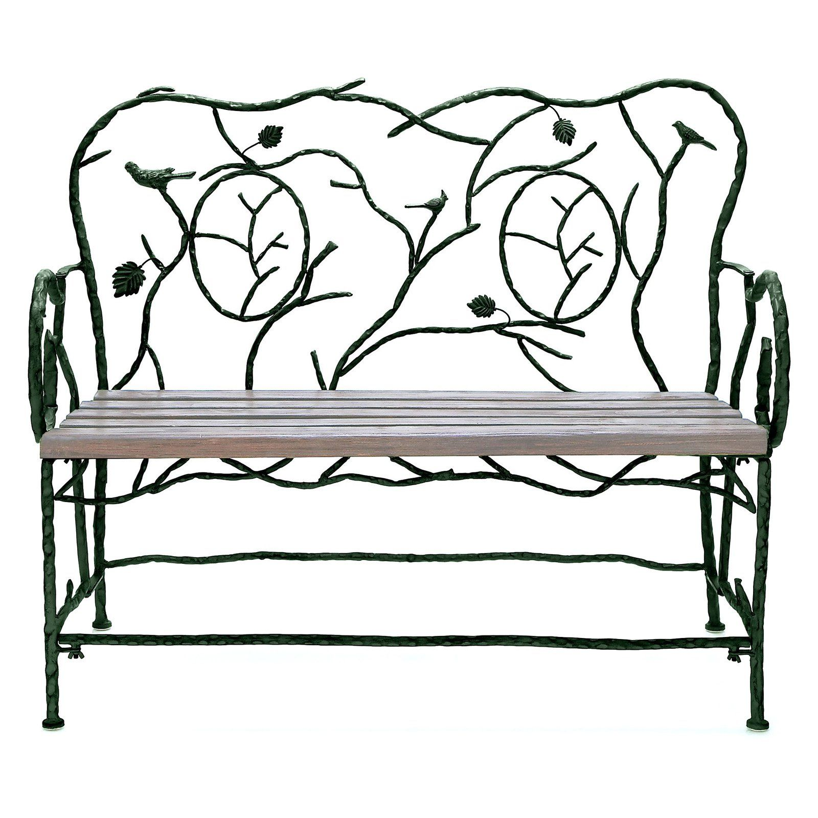 Decmode Birds And Leaves 46 In Wrought Iron Garden Bench Metal And Wood Bench Metal Bench Bench Decor
