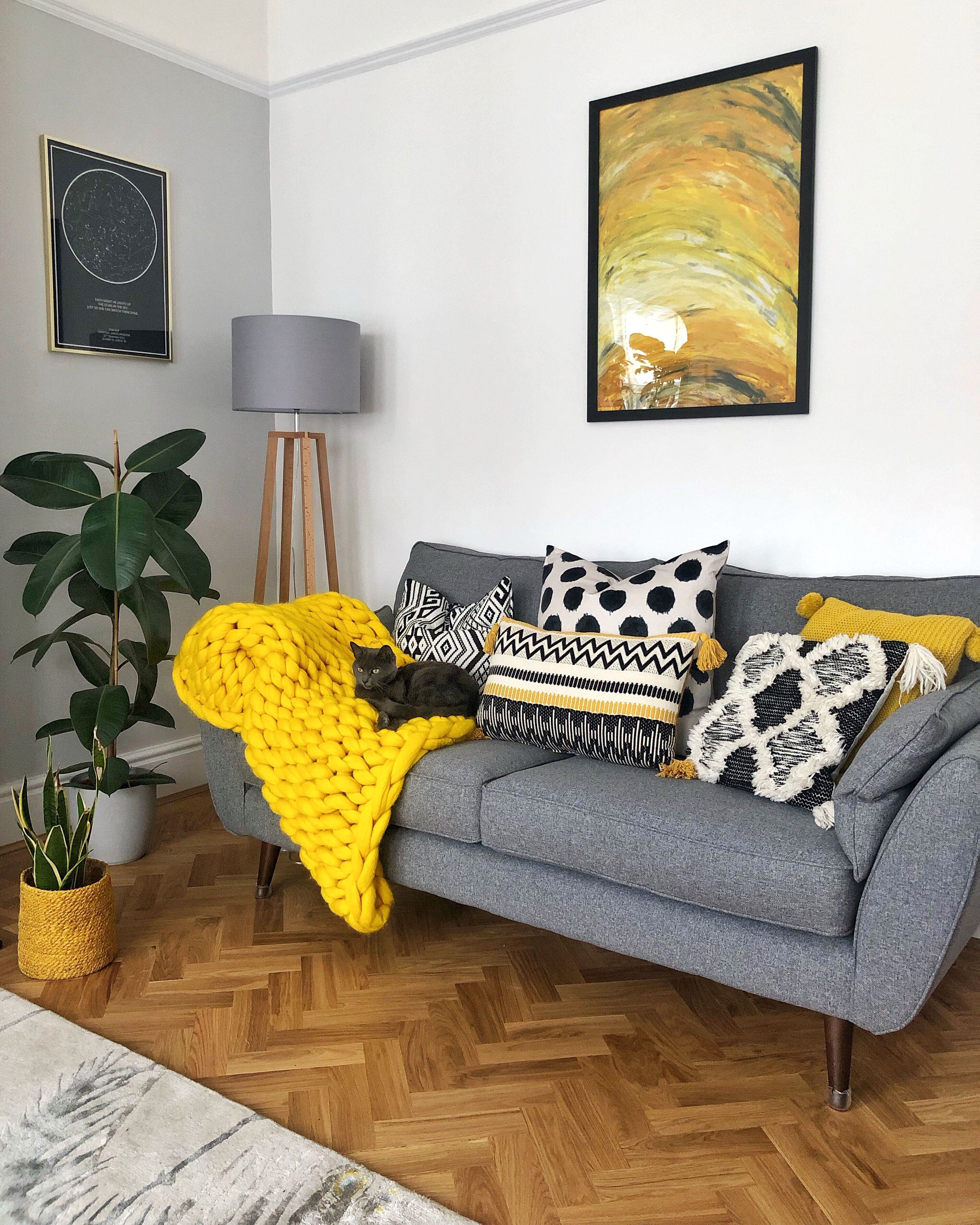 Grey And White Living Room With Yellow And Monochrome Living