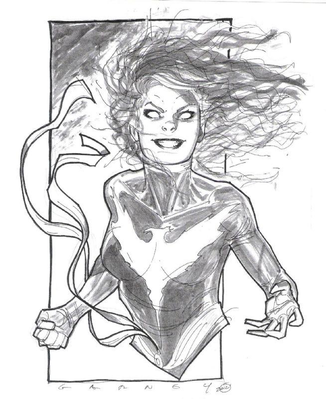 Sketch of Dark Phoenix By Ron Garney