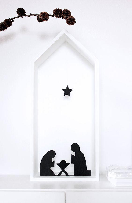 super brisk DIY a crib for puristsbrisk DIY cool crib made of paper  DIY nativity scene made of black paper