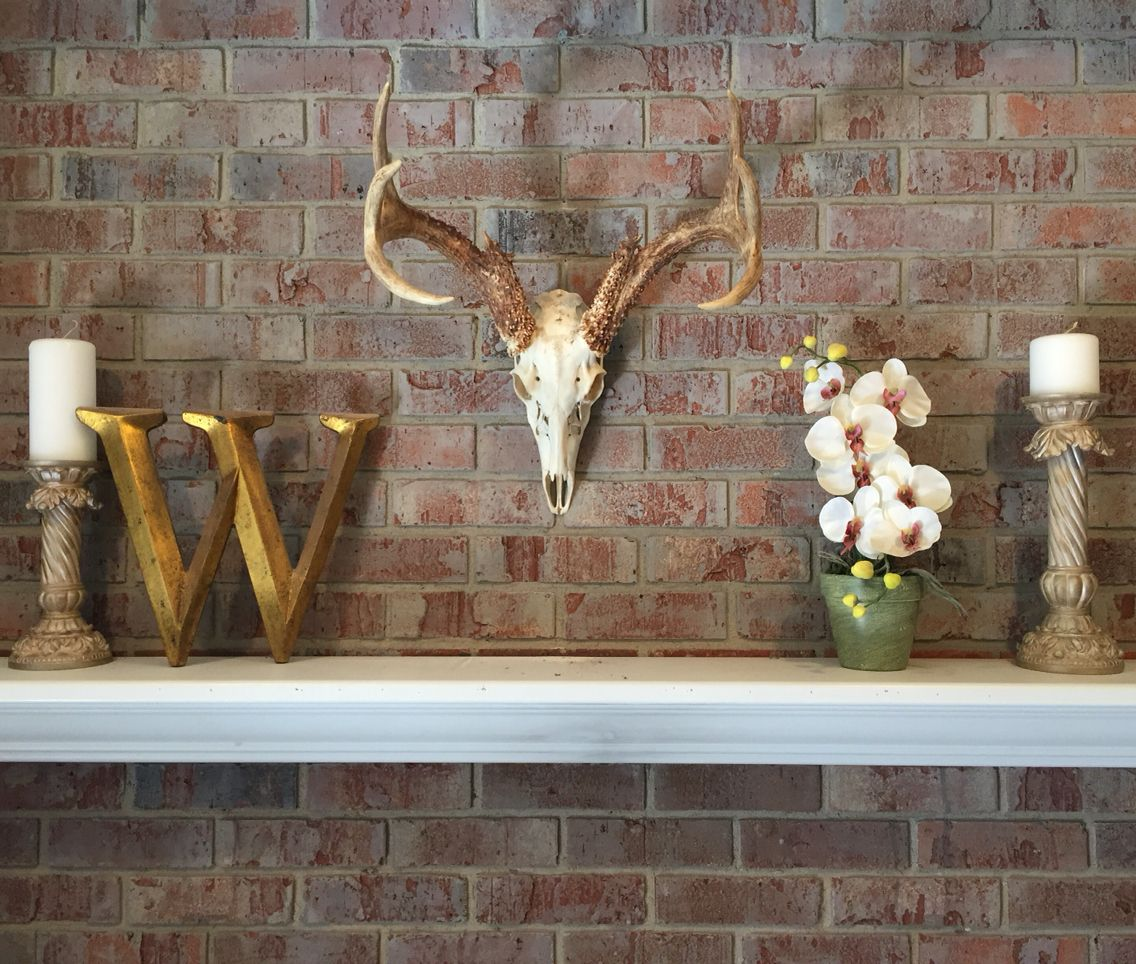 whitewashed fireplace u0026 my son u0027s deer skull mount over mantle