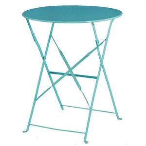 Bolero  Round Pavement Style Steel Table Seaside Blue 595mm